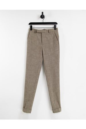 ASOS Hombre Chinos - Super skinny smart trouser in stone cross hatch