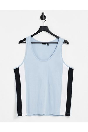 ASOS Relaxed vest in light blue with side panel details