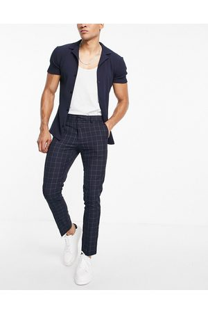 New Look Hombre Chinos - Skinny smart trousers in navy check
