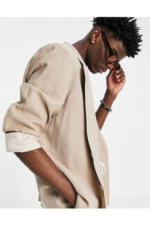 ASOS Hombre Sacos - Slim fit pyjama suit jacket with piping on pocket in camel
