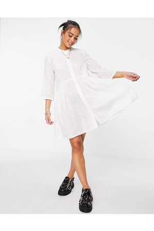 Only Shirt smock dress with 3/4 sleeves in white