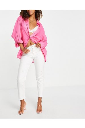 Replay Straight leg jeans with distressed hem in white