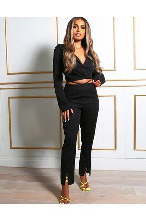 Public Desire X Amber Gill waist detail split front trouser in black
