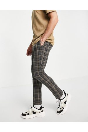 ASOS DESIGN Hombre Chinos - Skinny smart trouser in grey tartan check