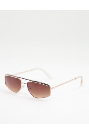 Jeepers Peepers Womens square sunglasses in silver with brown lens