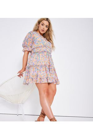 Simply Be Skater dress in blue ditsy floral