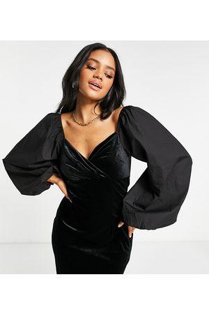 Missguided Velvet wrap dress with poplin sleeve in black