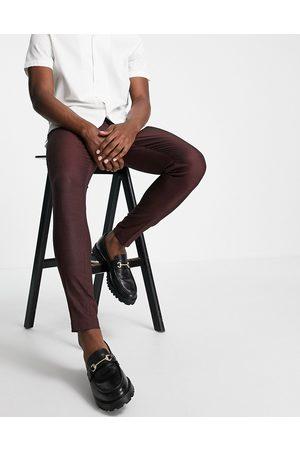 ASOS Skinny smart trouser in burgundy pin dot