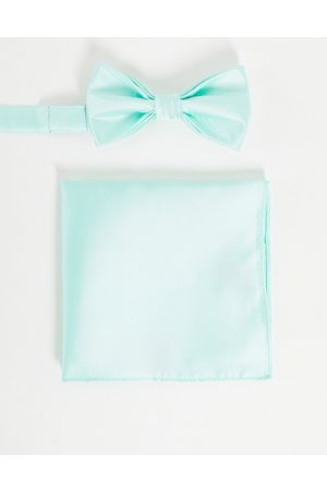 Devils Advocate Wedding plain satin bow tie and pocket square
