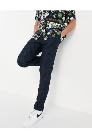 ASOS Slim smart trousers in navy texture