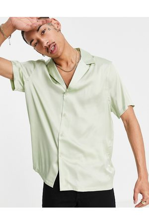 ASOS Satin shirt with deep revere collar in mint