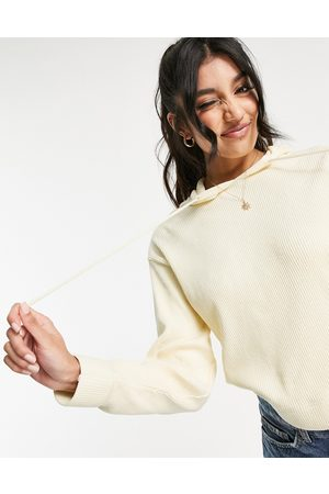 Pieces Ribbed hoodie in cream