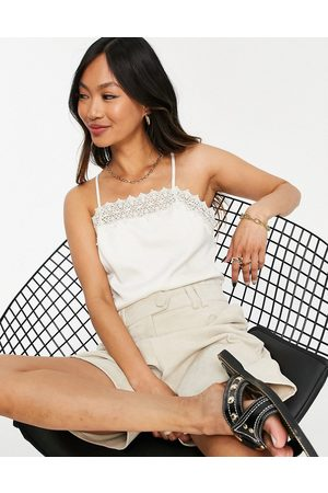 Y.A.S Recycled cami top with lace detail in cream