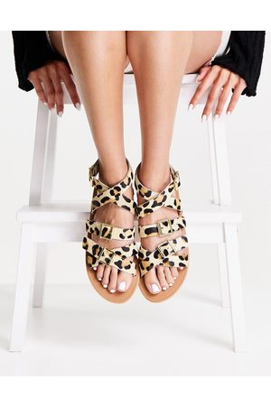 ASOS Fion leather gladiator sandals in leopard