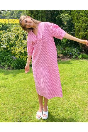 Native Youth Collar smock dress in neon pink stripe