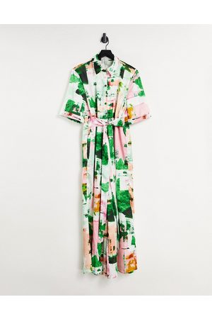 Liquorish Mujer Largos - Shirt jumpsuit with wide legs in abstract print
