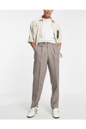 ASOS DESIGN High waist slim smart trouser in brown cross hatch