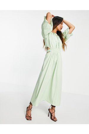 Pretty Lavish Organic cotton cut out waist midaxi dress in pastel green