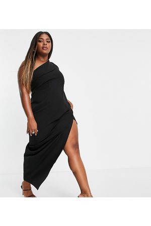 Vesper Plus One shoulder maxi dress with thigh split in black