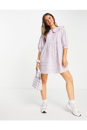 Influence Mini dress with peter pan collar in ditsy lilac floral