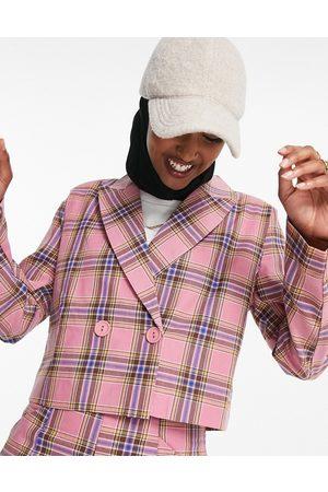 Heartbreak Cropped blazer in pink check co