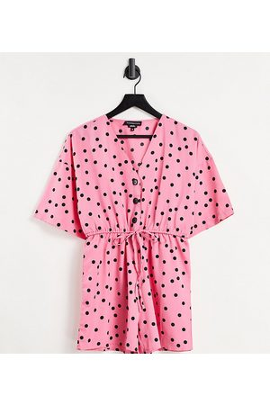 Wednesday's Girl Relaxed playsuit with drawstring waist in scattered polka dot