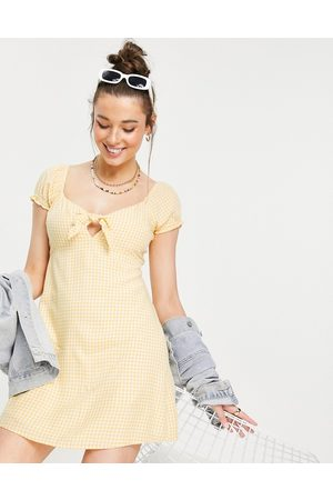 Hollister Puff sleeve frill hem dress in yellow check