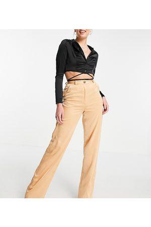 Missguided Tall Satin wide leg trouser in peach