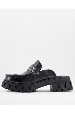 Koi Footwear Hombre Mocasines - KOI vegan chunky croc print backless loafers in black