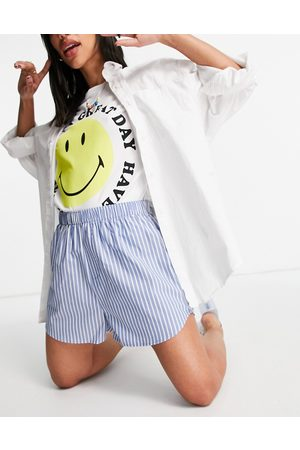 Weekday Day organic cotton pull on shorts in white and blue stripes