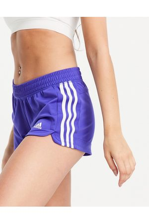 adidas performance Adidas Training Pacer 3 stripe knit shorts in blue