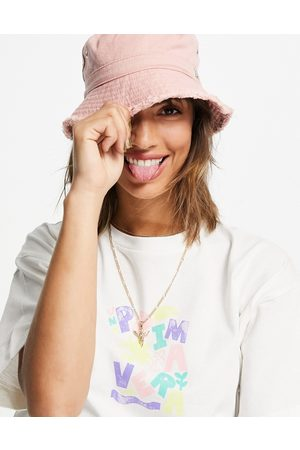 River Island Frayed twill bucket hat in pink