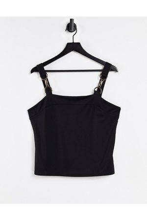 Morgan Mujer Crop tops - Cami strap top with buckle shoulder detail in black