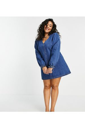Lost Ink Plus Swing dress with collar and balloon sleeves in vintage denim