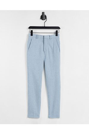 ASOS DESIGN Super skinny wool mix smart trouser in blue puppy tooth