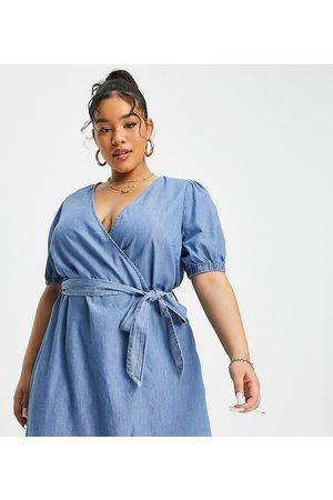 Only Curve Chambray wrap mini dress in light blue