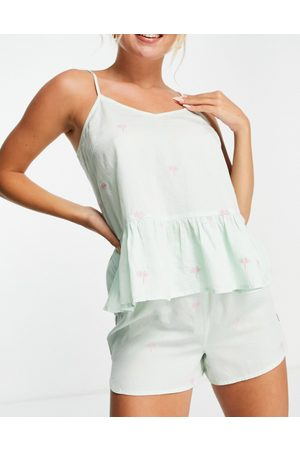 Y.A.S Exclusive embroidered palm cami top and flutter short pyjama set in mint
