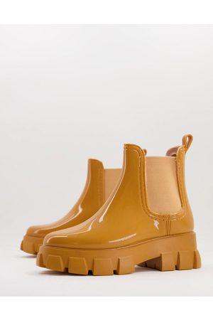 ASOS DESIGN Giana chunky chelsea rain boots in sand