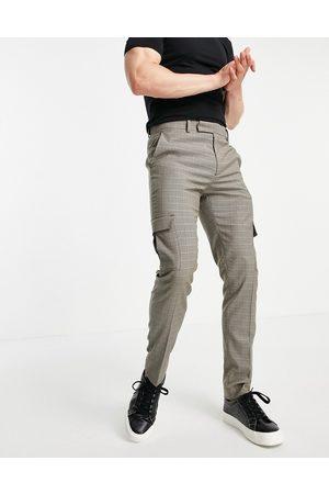 ASOS DESIGN Skinny cargo smart trouser in brown check