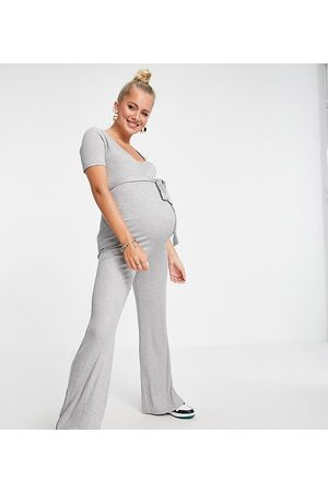 Missguided Maternity Ribbed popper jumpsuit in grey