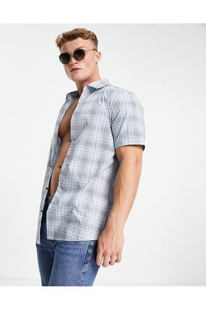 River Island Short sleeve muscle fit check shirt in blue