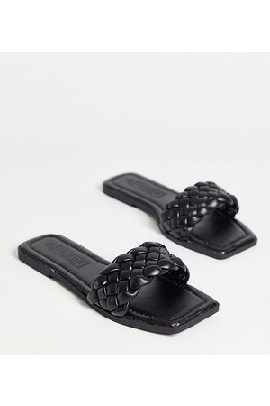 Truffle Collection Wide fit square toe flat sliders in black