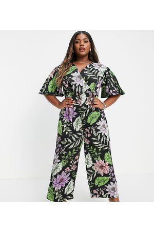 Liquorish Plus Liquorish Curve wrap jumpsuit in tropical floral print