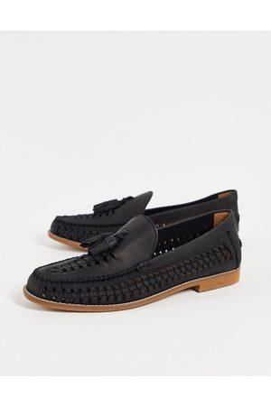 Office Clapton woven tassel loafers in black leather