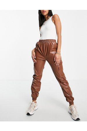 NaaNaa PU cargo trouser in brown