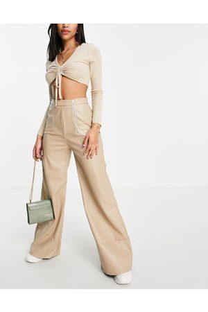 NaaNaa High waist flare PU trouser in stone
