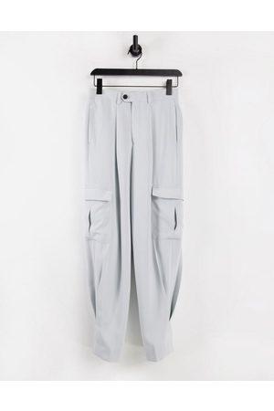 ASOS DESIGN High waist slim cargo smart trouser in grey crepe