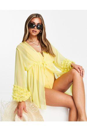 Moda Minx Ruffle sleeve beach kimono in lemon