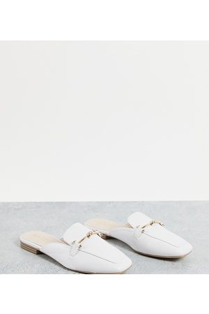 Raid Wide Fit Logan backless loafers in white