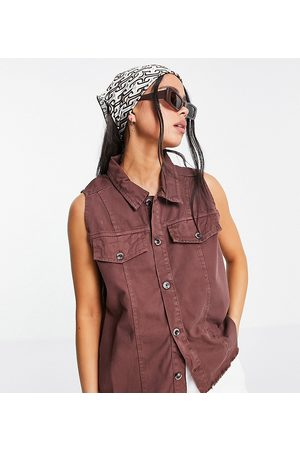 Native Youth Relaxed fit denim waistcoat in frayed chocolate co